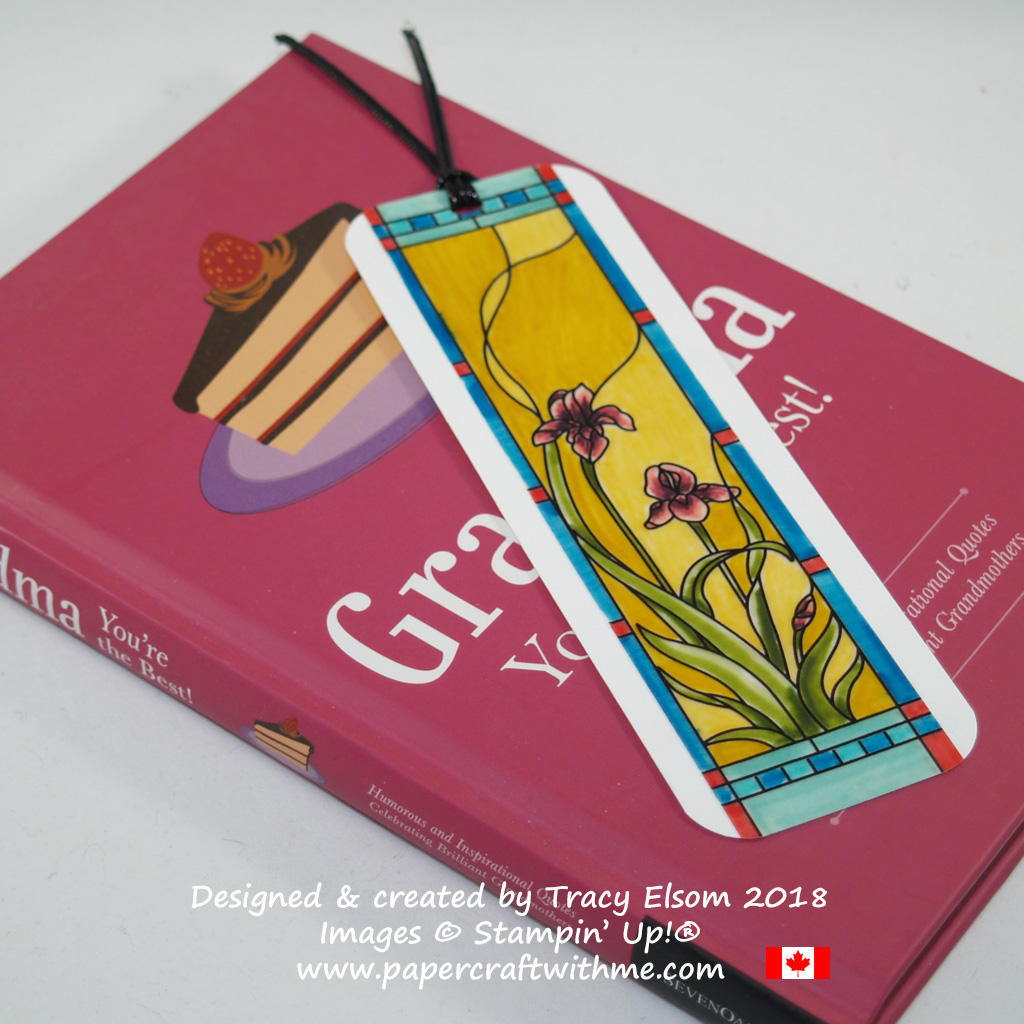 "Bookmark created using a panel from the Graceful Glass 6"" x 6"" Designer Vellum and Stampin' Write Markers from Stampin' Up!"