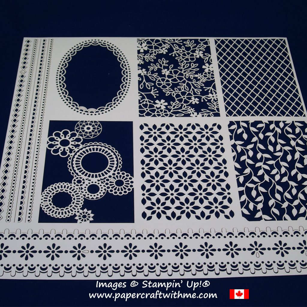 """12"""" x 12"""" panel (white one side / vanilla on reverse) from the Delightfully Detailed Laser-cut Specialty Paper from Stampin' Up!"""