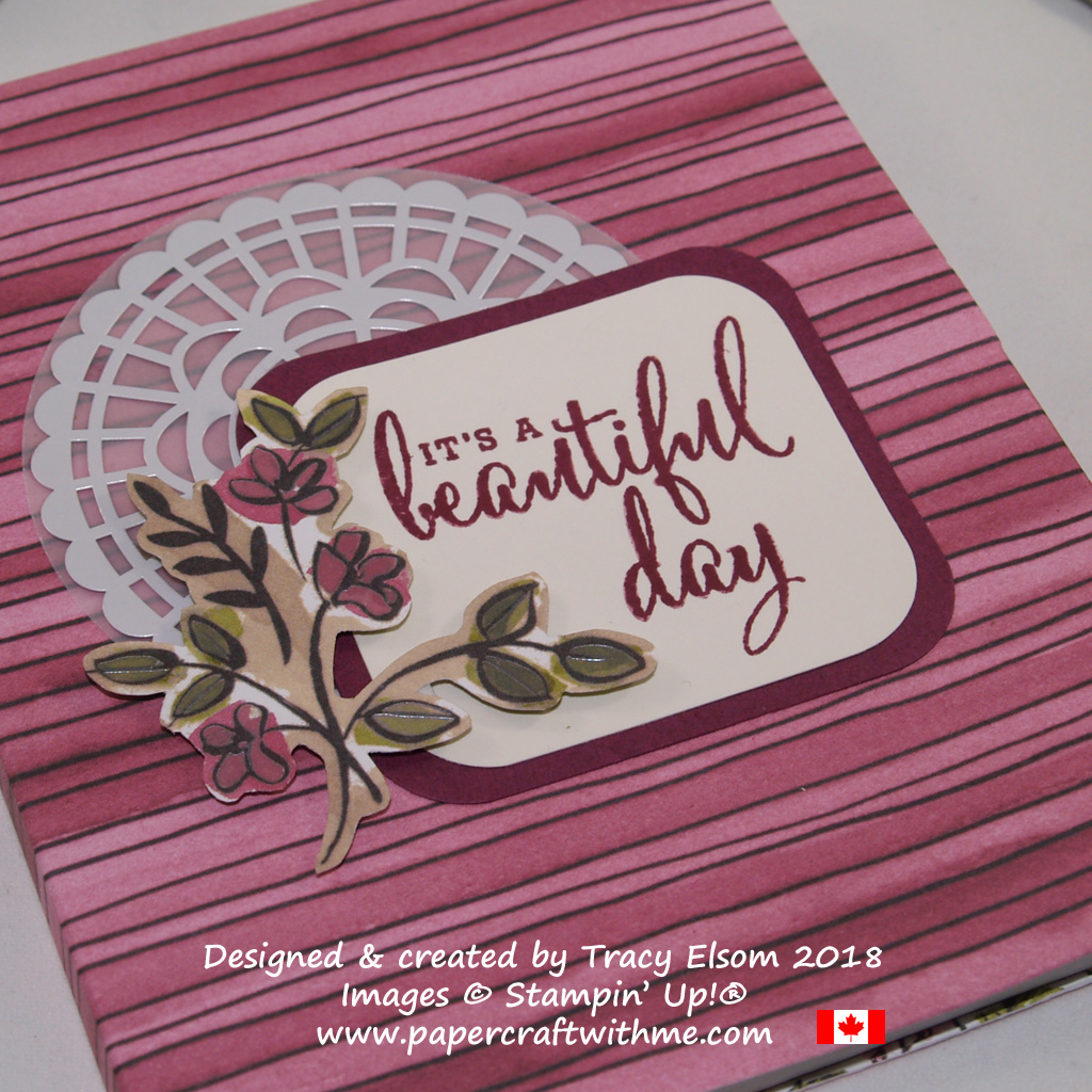 Close up of covered notebook created using the Love What You Do Stamp Set and Share What You Love Specialty Designer Series Paper from Stampin' Up!