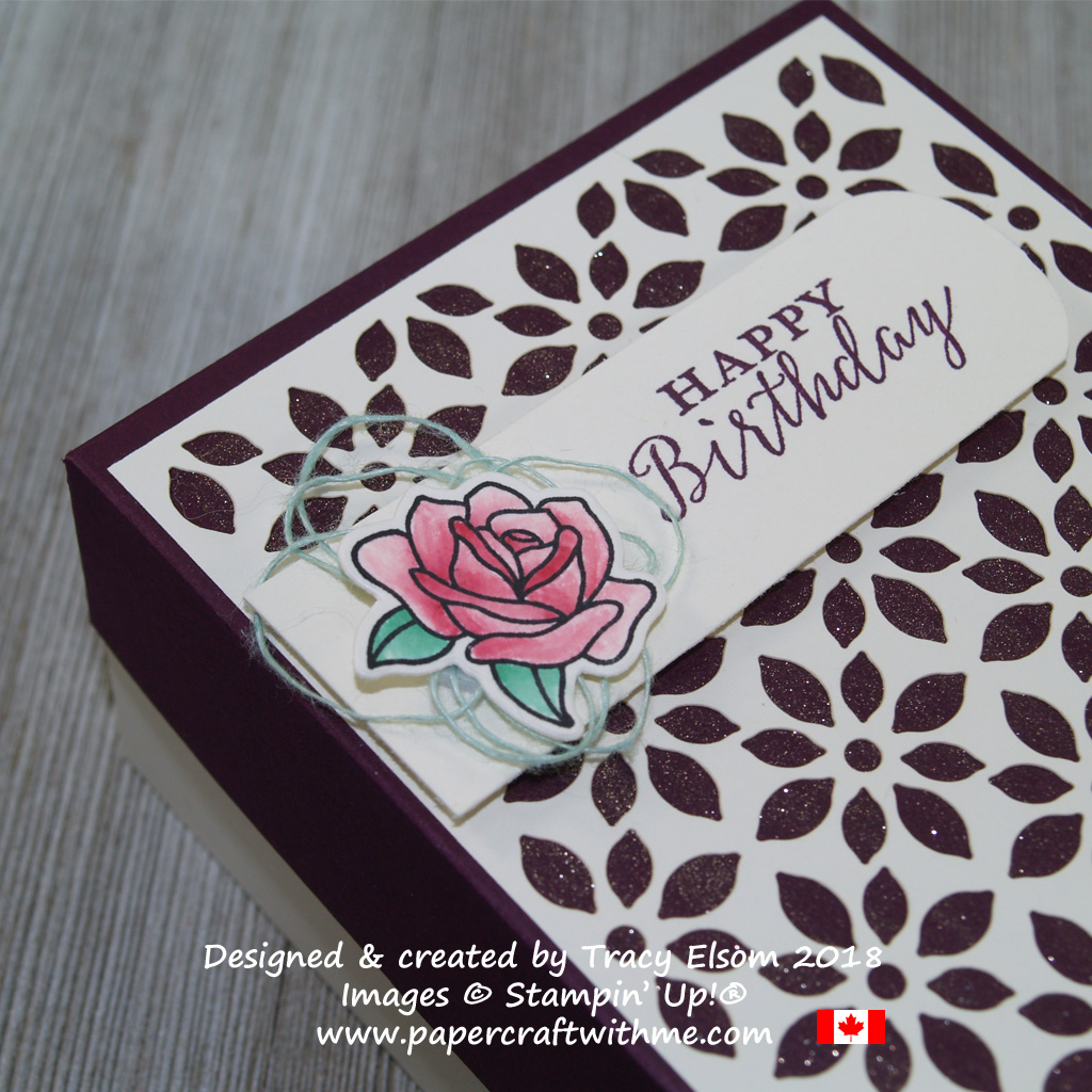 Close up of a two-part box created using images from the Detailed with Love and Painted Glass Stamp Sets from Stampin' Up!