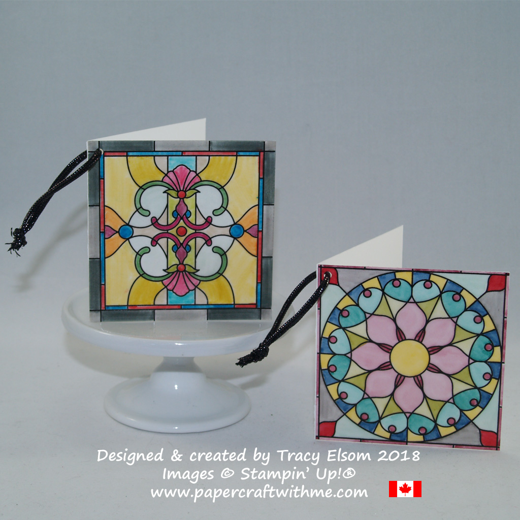 """3"""" x 3"""" gift tags created using Graceful Glass Designer Vellum from Stampin' Up!"""