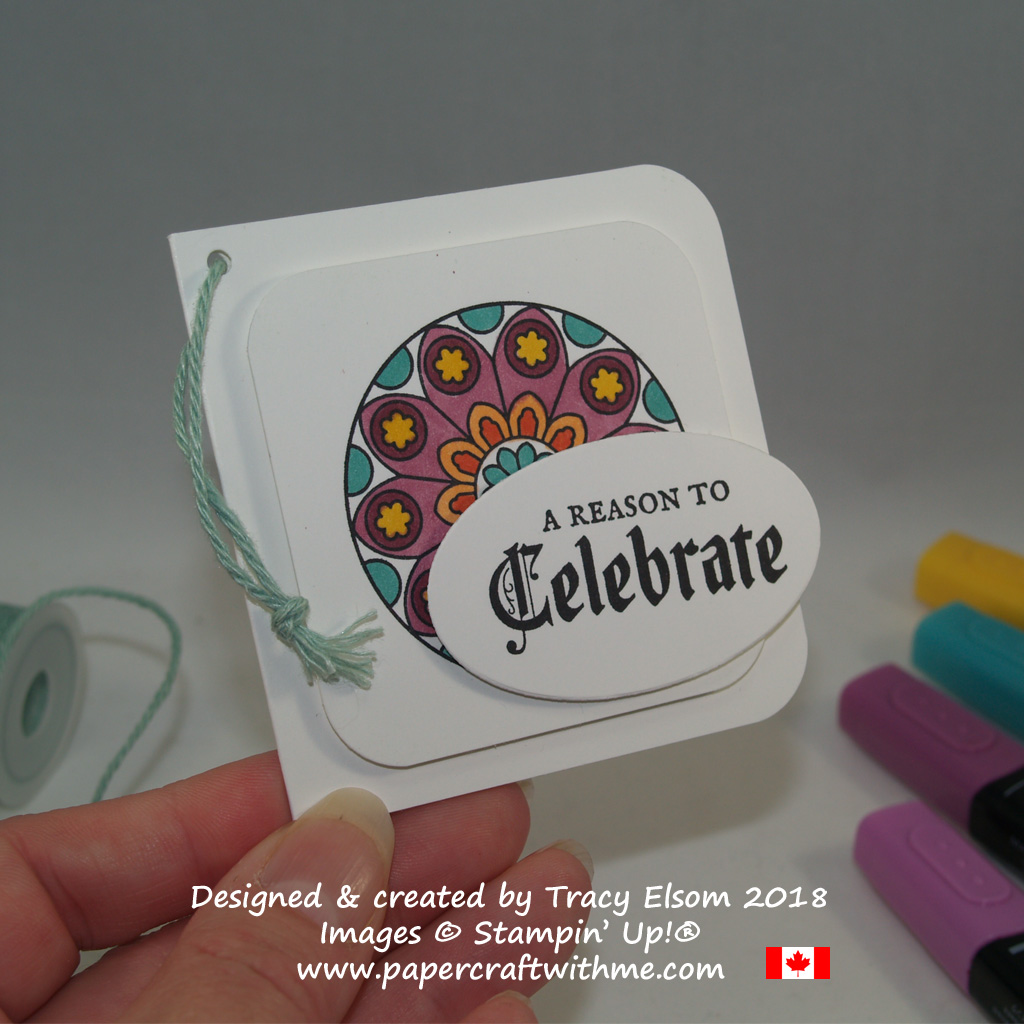 Celebrate gift tag with a circular image and gothic font sentiment from the Painted Glass Stamp Set from Stampin' Up!