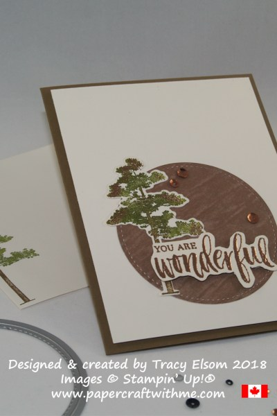 'You are Wonderful' card created using the Rooted in Natures Stamp Set from Stampin' Up! with copper embossing.