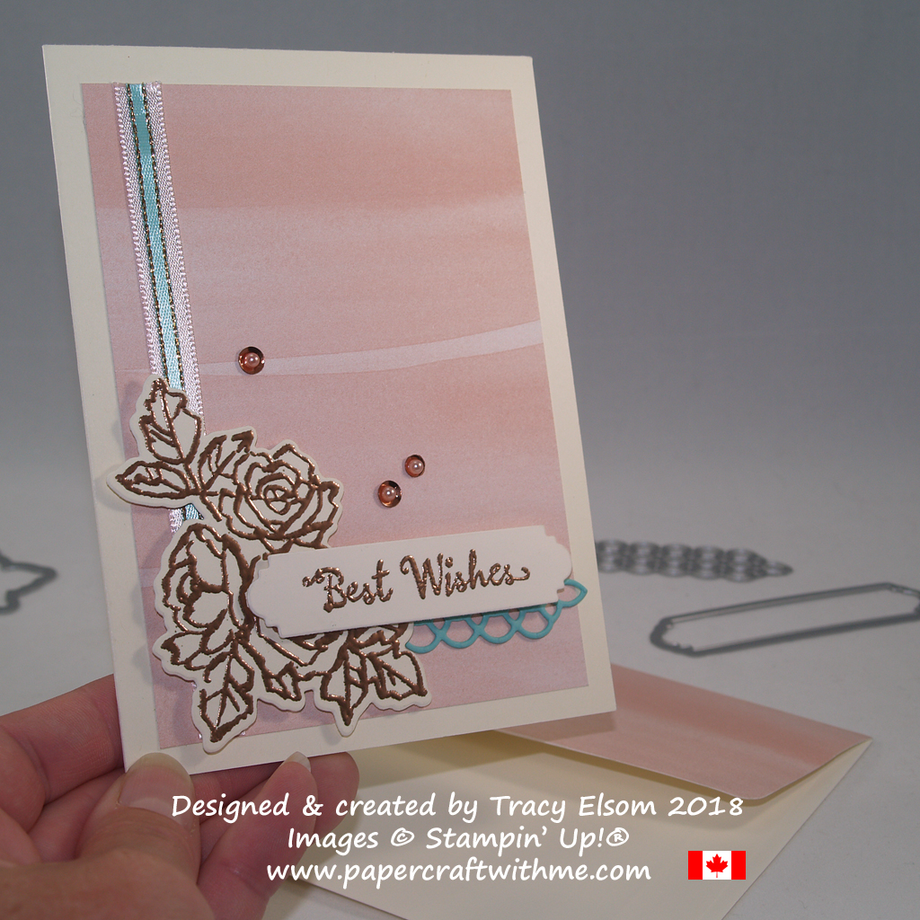 Best wishes card created by Tracy Elsom using the Petal Palette Stamp Set and coordinating Petals and More Thinlits Dies from Stampin' Up!