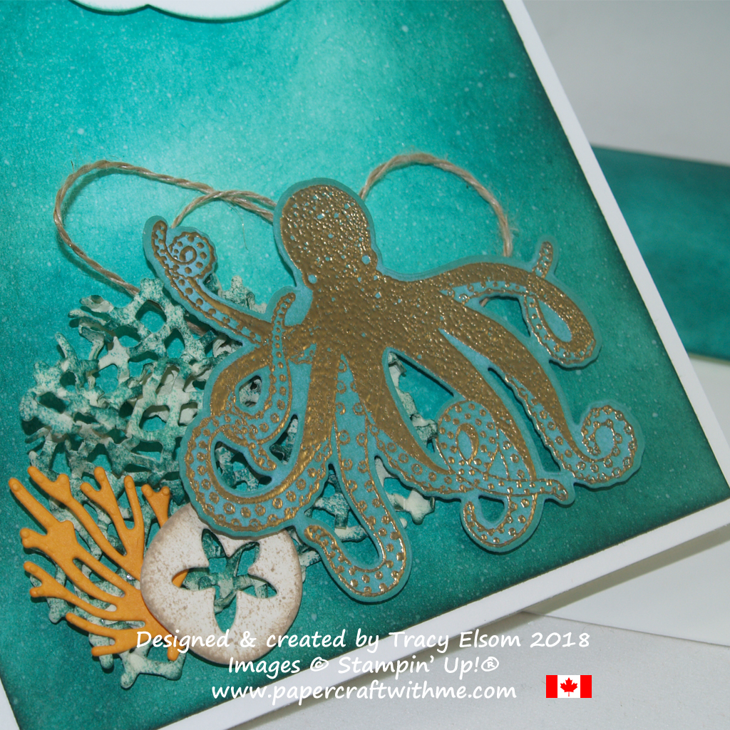 Close up of birthday card created by Tracy Elsom using the Sea of Textures Stamp Set and coordinating Under the Sea Thinlits Dies from Stampin' Up!