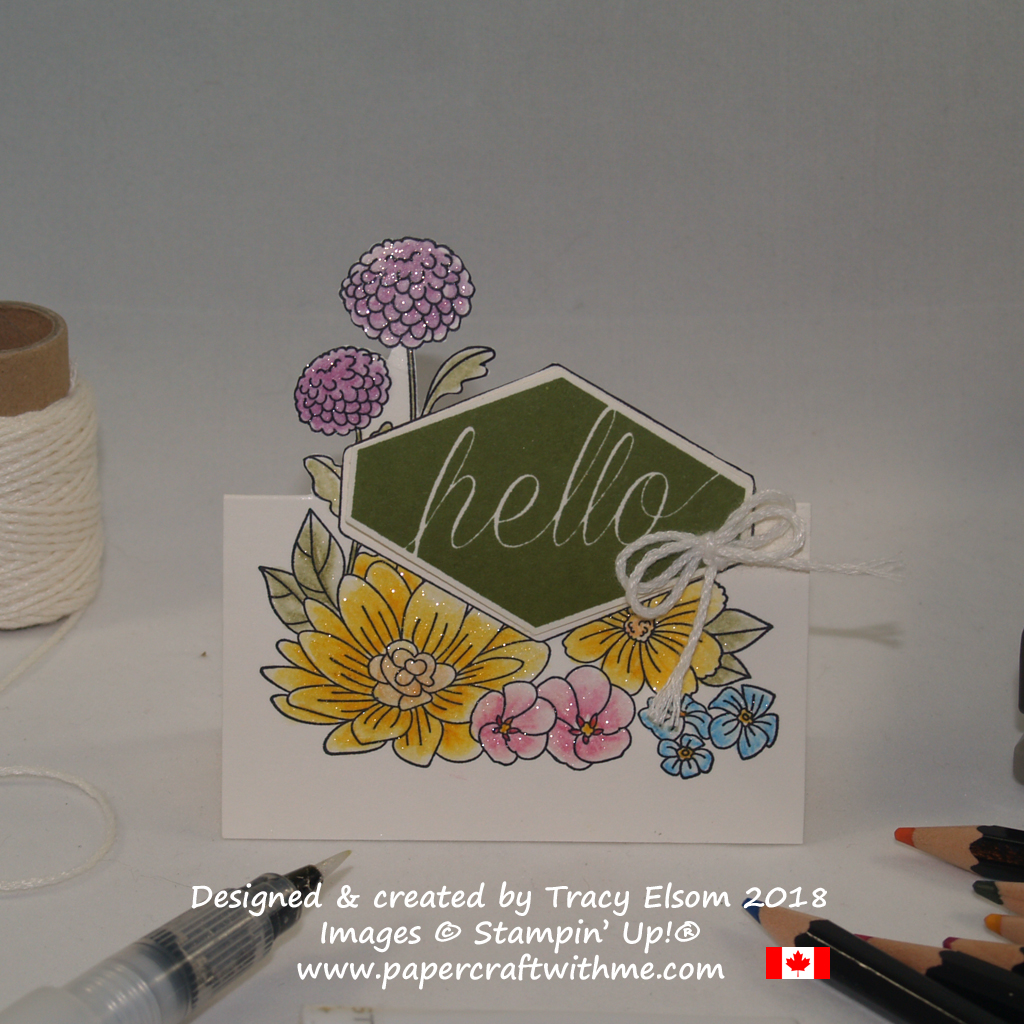 Watercoloured place card created by Tracy Elsom using the Accented Blooms Stamp Set from Stampin' Up!