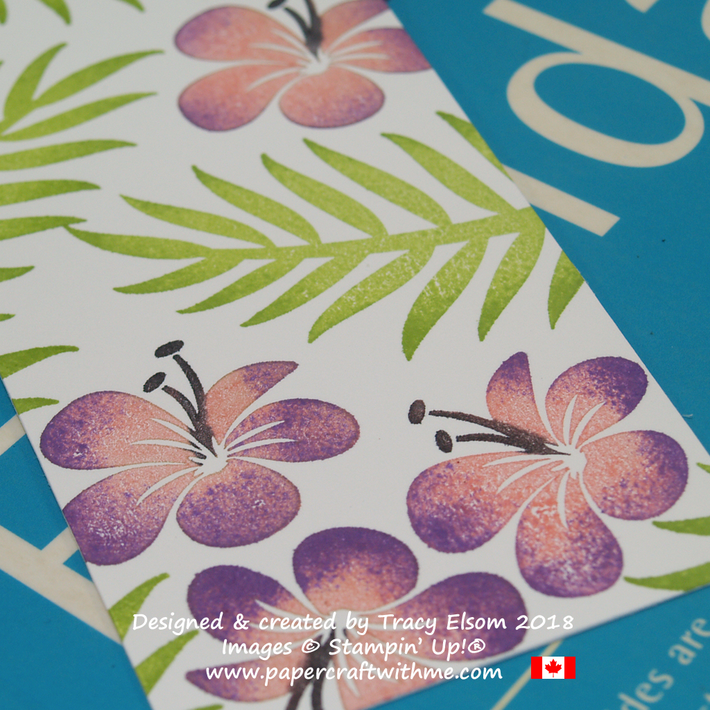 Close up of floral bookmark created by Tracy Elsom using the Tropical Chic Stamp Set from Stampin' Up!