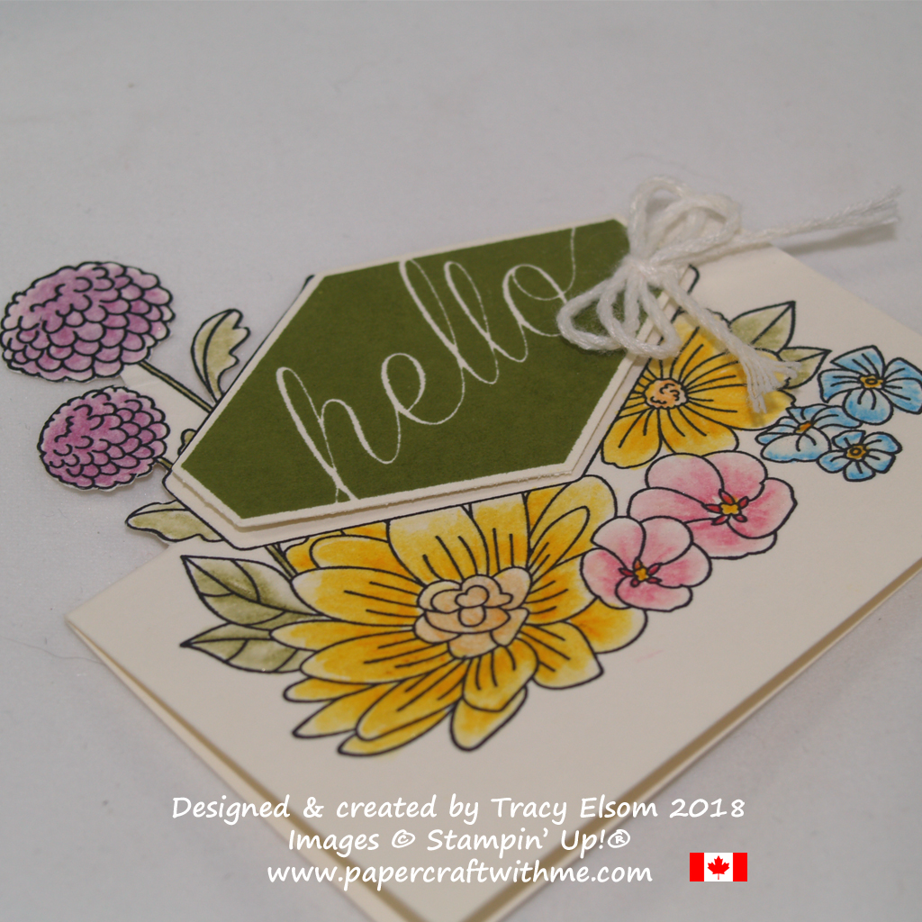 Close up of watercoloured place card created by Tracy Elsom using the Accented Blooms Stamp Set from Stampin' Up!