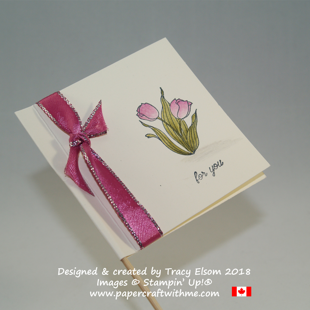 Flag style gift tag for flowers created by Tracy Elsom using the In Every Season Stamp Set from Stampin' Up!