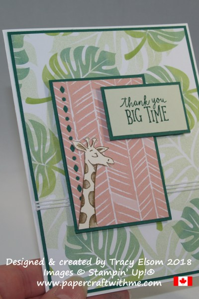 Thank you card created by Tracy Elsom using the Animal Outing Stamp Set and Tropical Escape DSP from Stampin' Up!