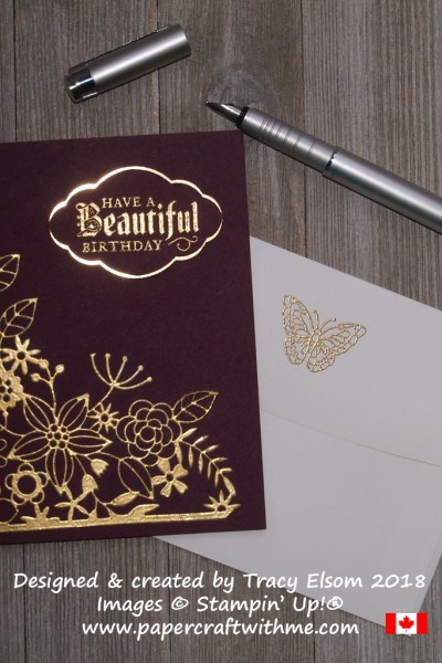 Gold embossed birthday card created by Tracy Elsom using the Painted Glass Stamp Set and Delightfully Detailed Laser-Cut Specialty Paper from Stampin' Up!