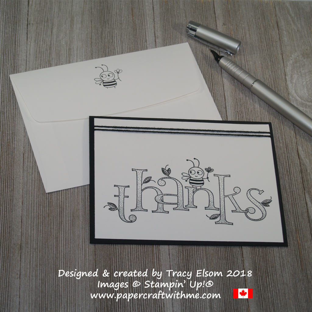 Simple black and white thank you card created using the Bee Thankful Stamp from Stampin' Up!