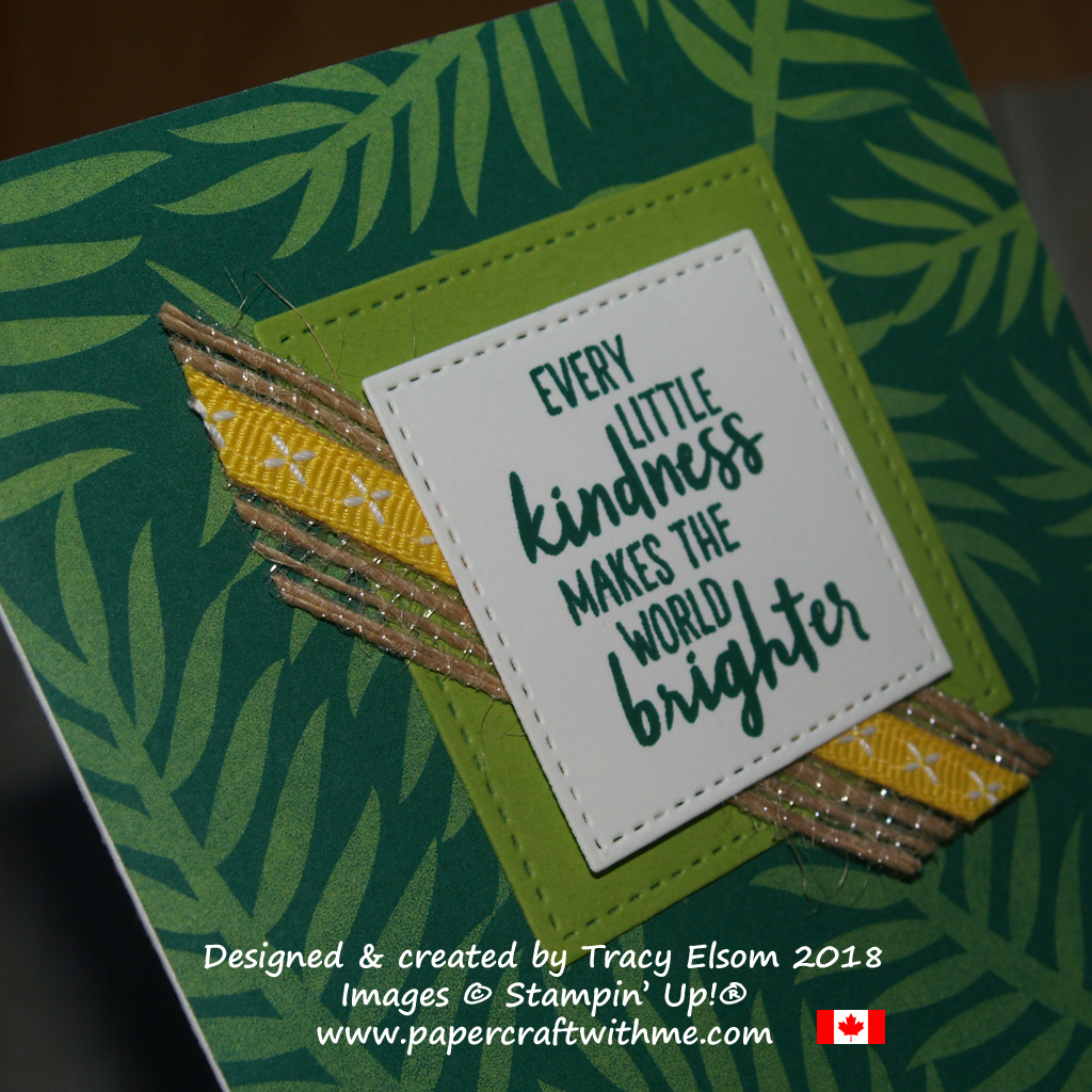 Close up of kindness card created using the Waterfront Stamp Set and Tropical Escape Designer Series Paper from Stampin' Up!
