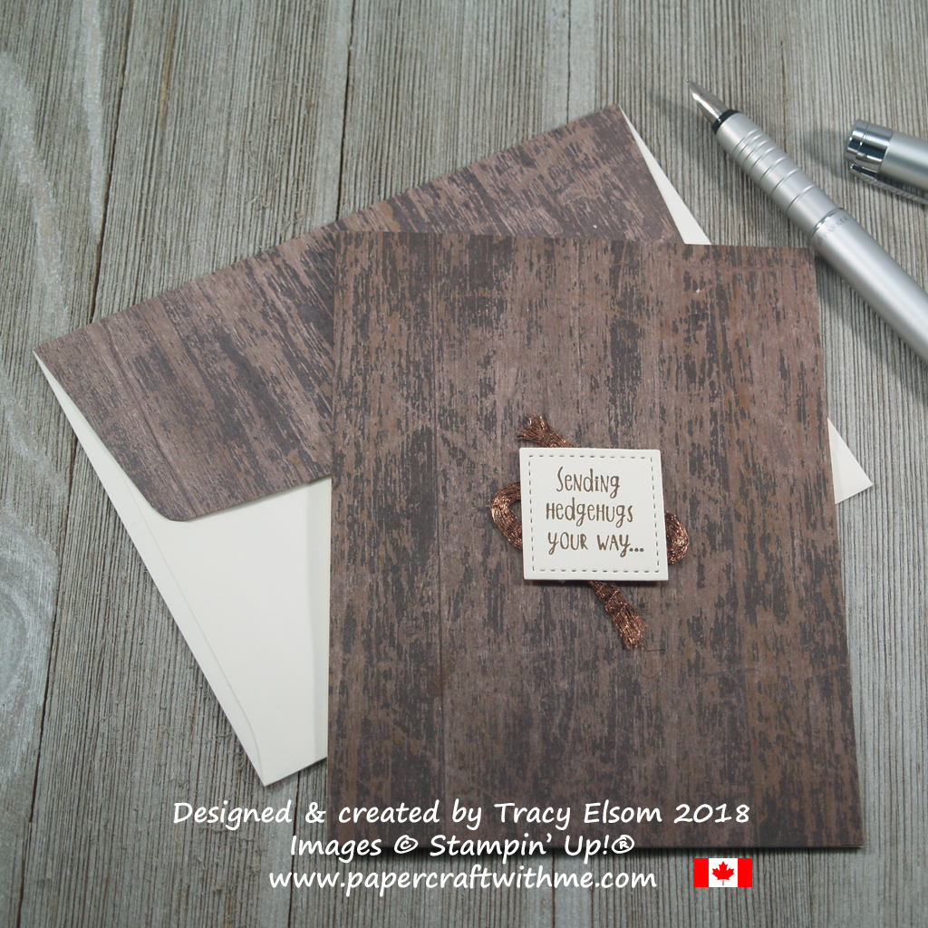 Masculine hugs card created using the Hedgehugs Stamp Set, Wood Textures paper and copper trim from Stampin' Up!
