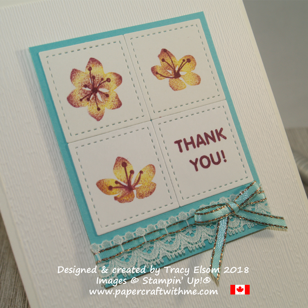 Close up of thank you card with three single flowers created using the Colorful Seasons Stamp Set from Stampin' Up!