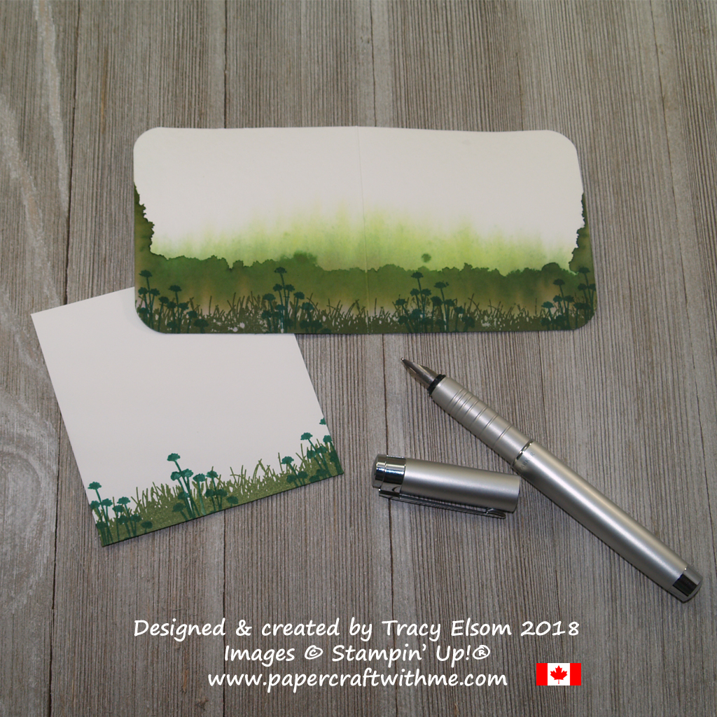 Reverse of watercolour scene created using drawn water and the Enjoy Life Stamp Set from Stampin' Up!