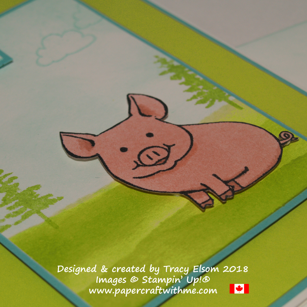Close up of thank you card created using the This Little Piggy Stamp Set from Stampin' Up! and a sponged background.