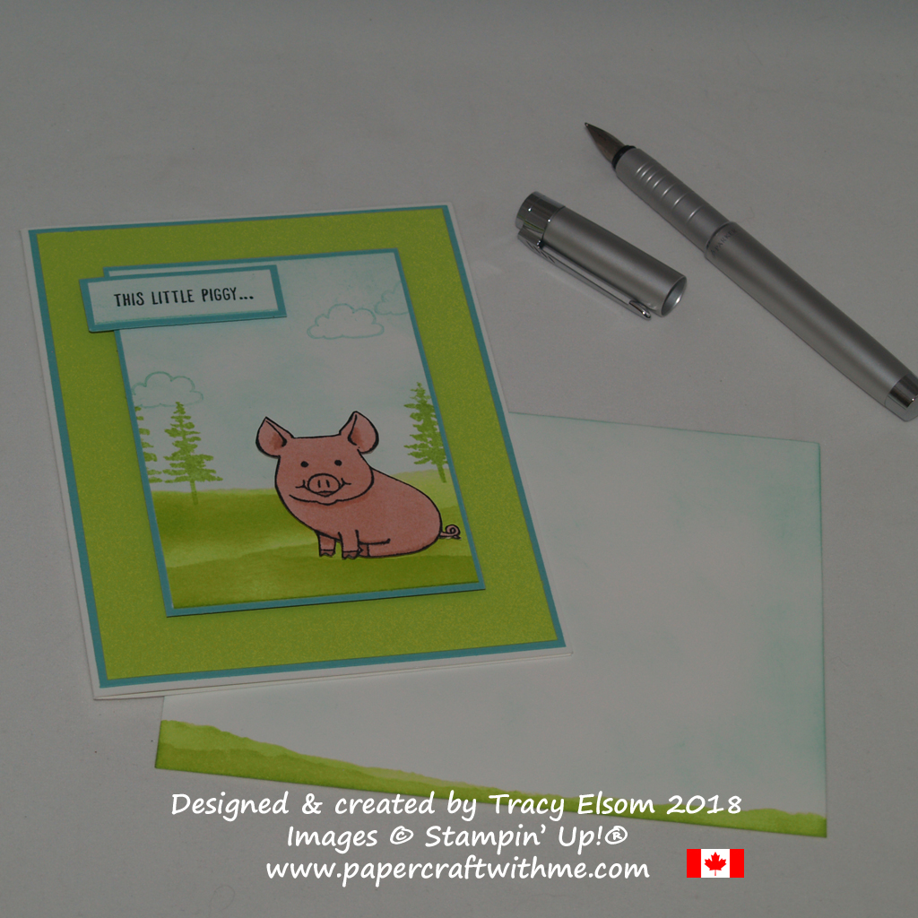 Thank you card created using the This Little Piggy Stamp Set from Stampin' Up! and a sponged background.