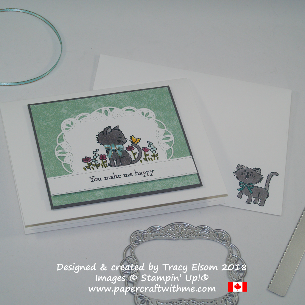 Card created using the Pretty Kitty Stamp Set coloured with Stampin' Blends from Stampin' Up!