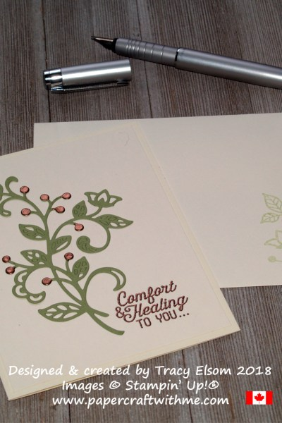Get well card with copper embossed accents, created using the Flourishing Phrases Stamp Set and coordinating Flourish Thinlits Dies from Stampin' Up!