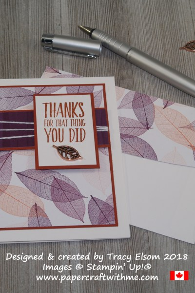 Thank you card created using the All Things Thanks Stamp Set and Nature's Poem Designer Series Paper from Stampin' Up!