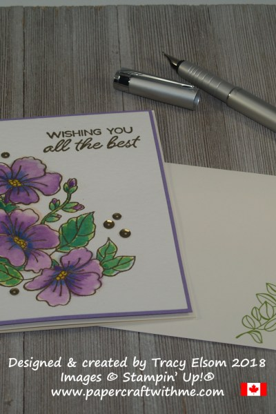 'All the best' card with embossed and watercoloured flowers created using the Blended Seasons Stamp Set from Stampin' Up!