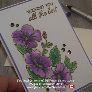 Close up of 'all the best' card with embossed and watercoloured flowers created using the Blended Seasons Stamp Set from Stampin' Up!