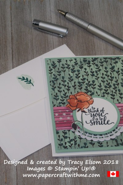 Card created using the 'to think of you is to smile' sentiment from the Eastern Beauty Stamp Set, and Share What You Love Designer Series Paper from Stampin' Up!