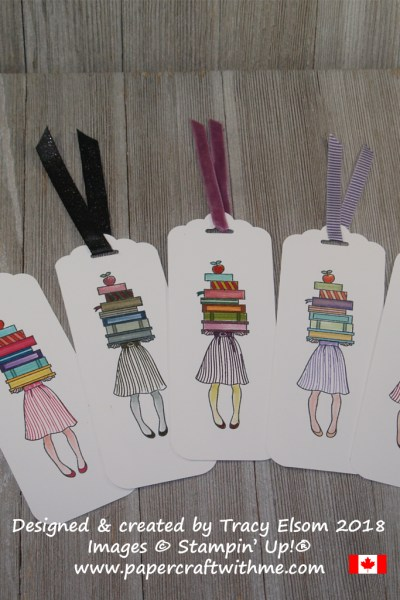Five bookmarks featuring a girl holding a stack of books created using the Hand Delivered Stamp Set and all 50 Stampin Write Marker colours from Stampin' Up!