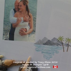 Close up of beach wedding photo mat created using the Waterfront Stamp Set from Stampin' Up!