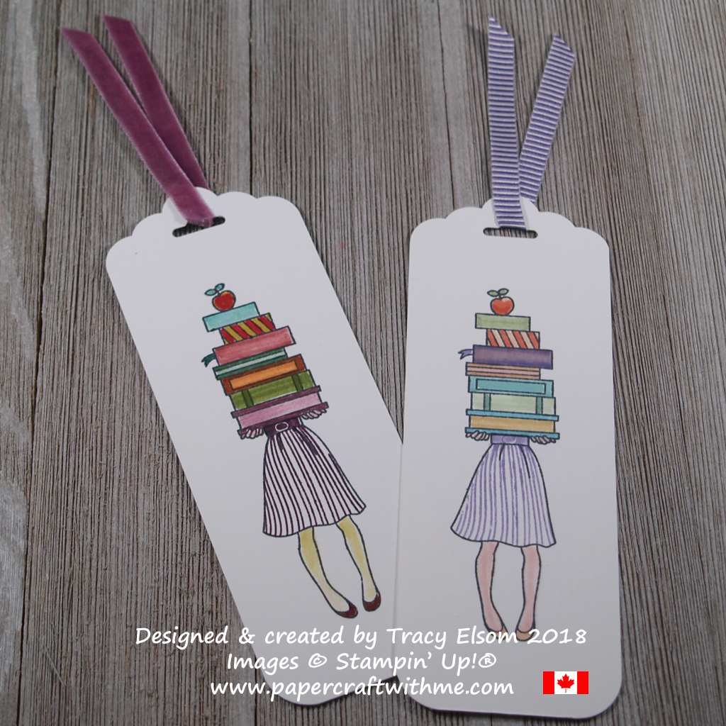Bookmarks featuring a girl holding a stack of books created using the Hand Delivered Stamp Set and all 10 Regals Stampin Write Markers (left) and all 10 Subtles (right) from Stampin' Up!