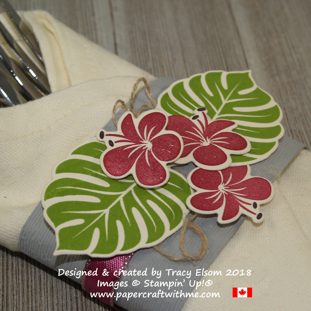 Close up of silverware wrap created using the Tropical Chic Stamp Set, Tropical Thinlits and Subtle embossing folder from Stampin' Up!
