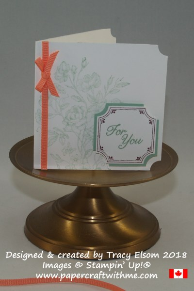 Folded gift tag created by Tracy Elsom using the Very Vintage Stamp Set from Stampin' Up!