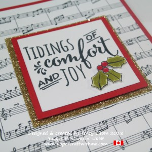 Close up of Christmas Card created using the Sheet Music and Christmas Pines Stamp Set from Stampin' Up!