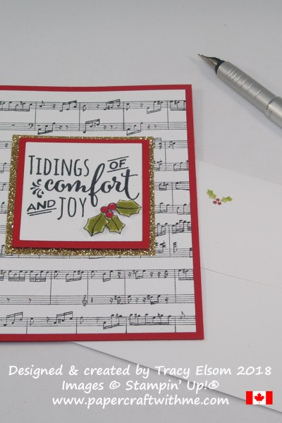 Christmas Card created using the Sheet Music and Christmas Pines Stamp Sets from Stampin' Up!