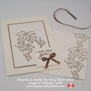 'Miss you' card with copper embossed leaves from the Blended Seasons Stamp Set from Stampin' Up!