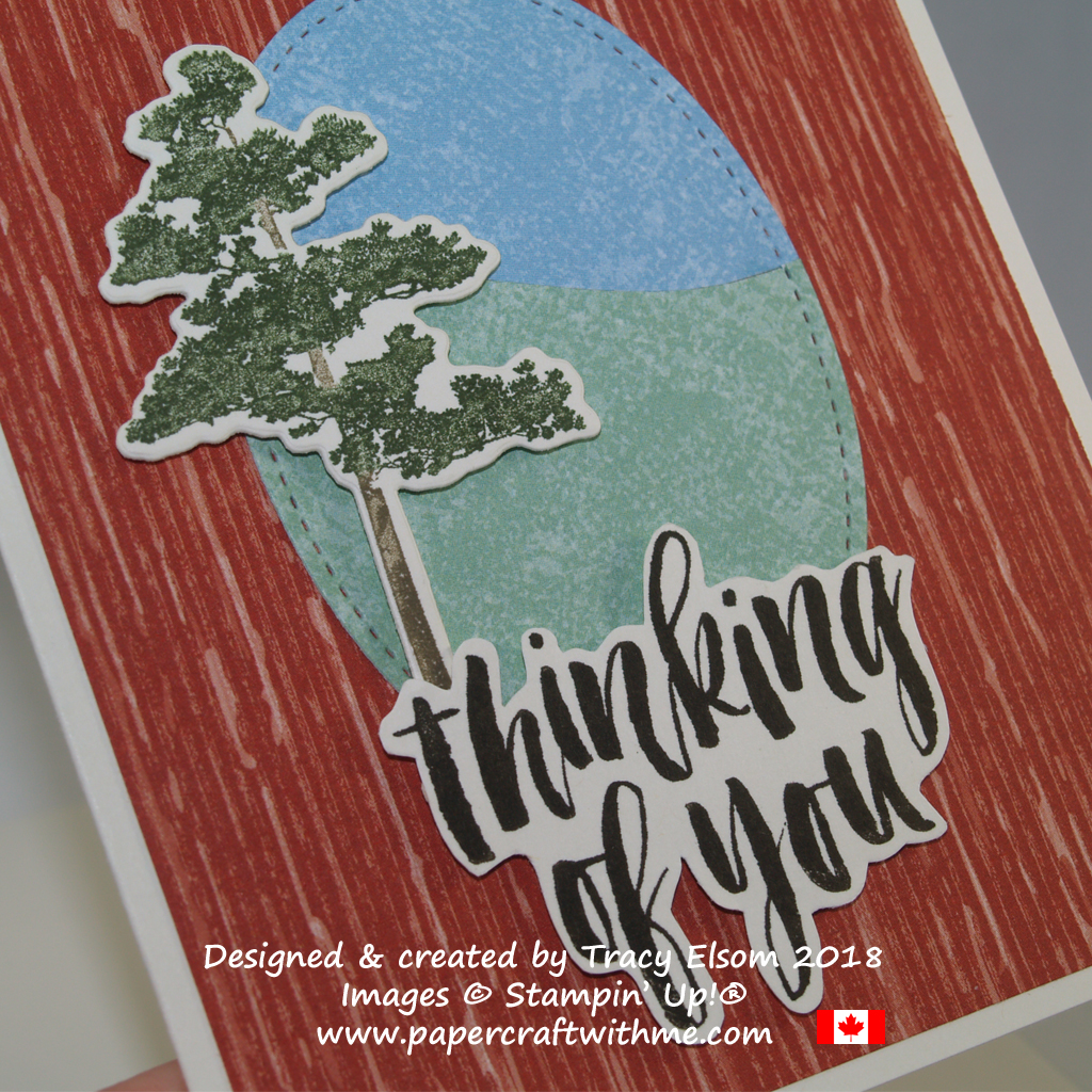 Close up of 'thinking of you' card with a lone pine tree, featuring images from the Rooted in Nature Stamp Set from Stampin' Up!