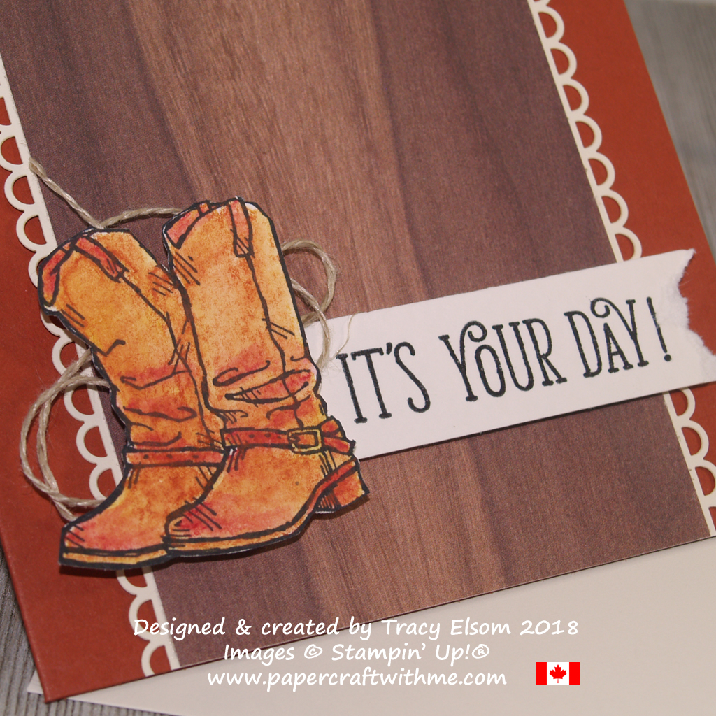 Close up of masculine birthday card featuring watercoloured cowboy boots from the Country Livin' Stamp Set from Stampin' Up!