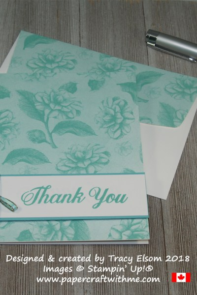 Thank you card using sentiment from the Daily Delight Stamp Set and the blue roses design from the Tea Room Specialty Designer Series Paper from Stampin' Up!