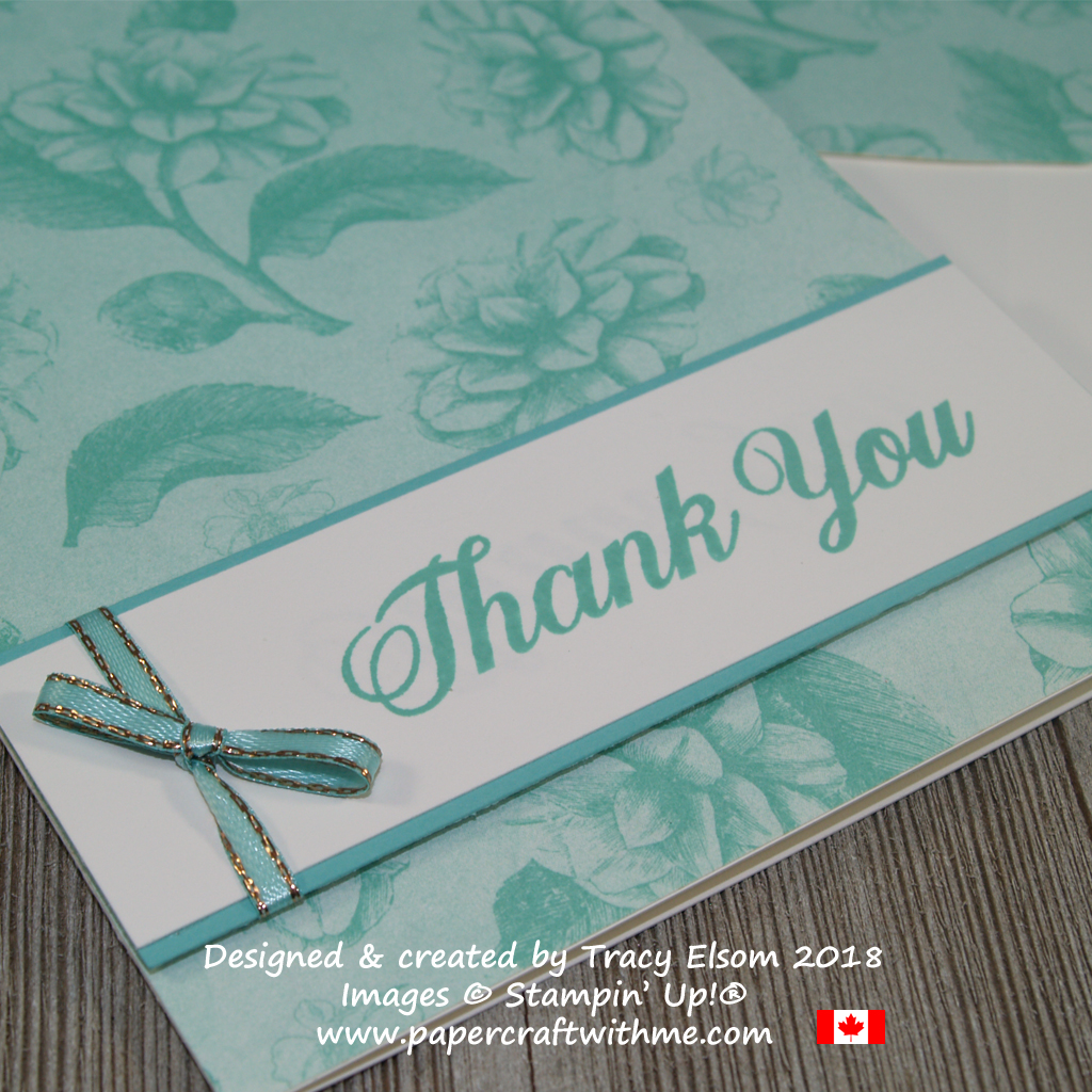Close up of thank you card using sentiment from the Daily Delight Stamp Set and a blue rose design from the Tea Room Specialty Designer Series Paper from Stampin' Up!