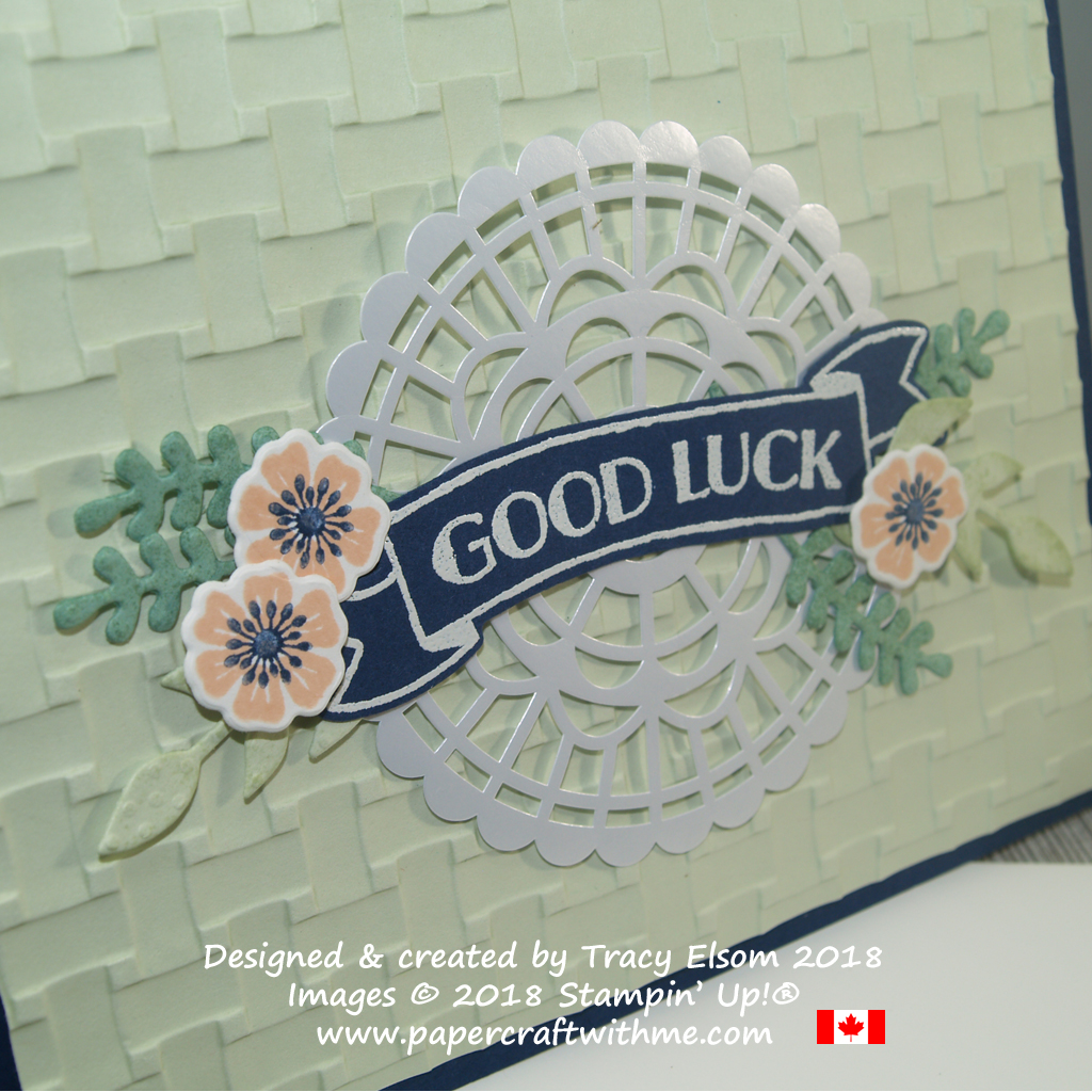 Close up of good luck card created using the Banners for You and Beautiful Bouquet Stamp Sets from Stampin' Up!