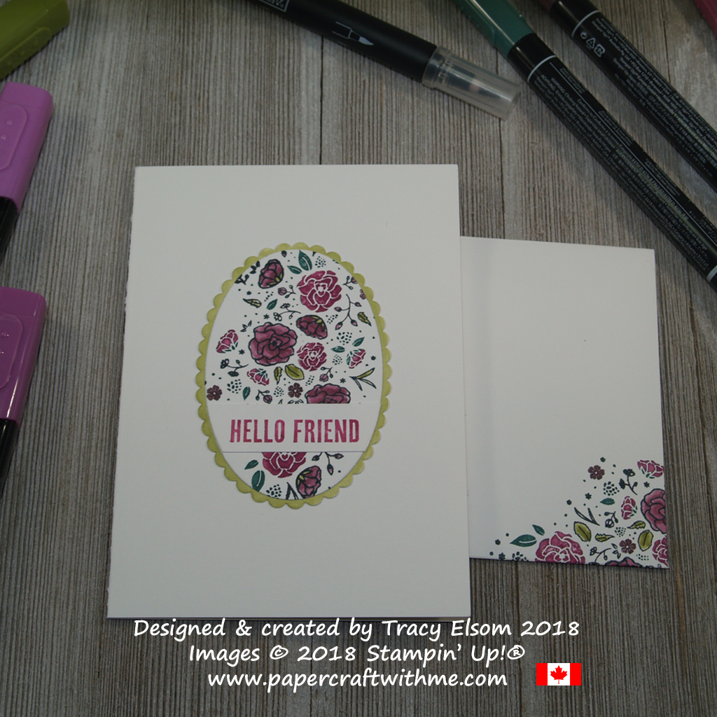 Hello friend notecard with floral panel created using the Wood Words Stamp Set from Stampin' Up!