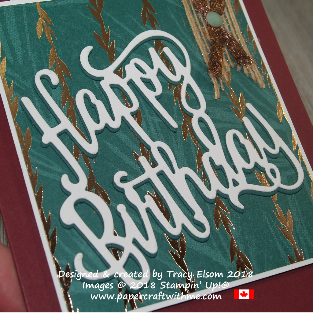 Close up of layered Happy Birthday die-cut from Stampin' Up! showing shadow effect.