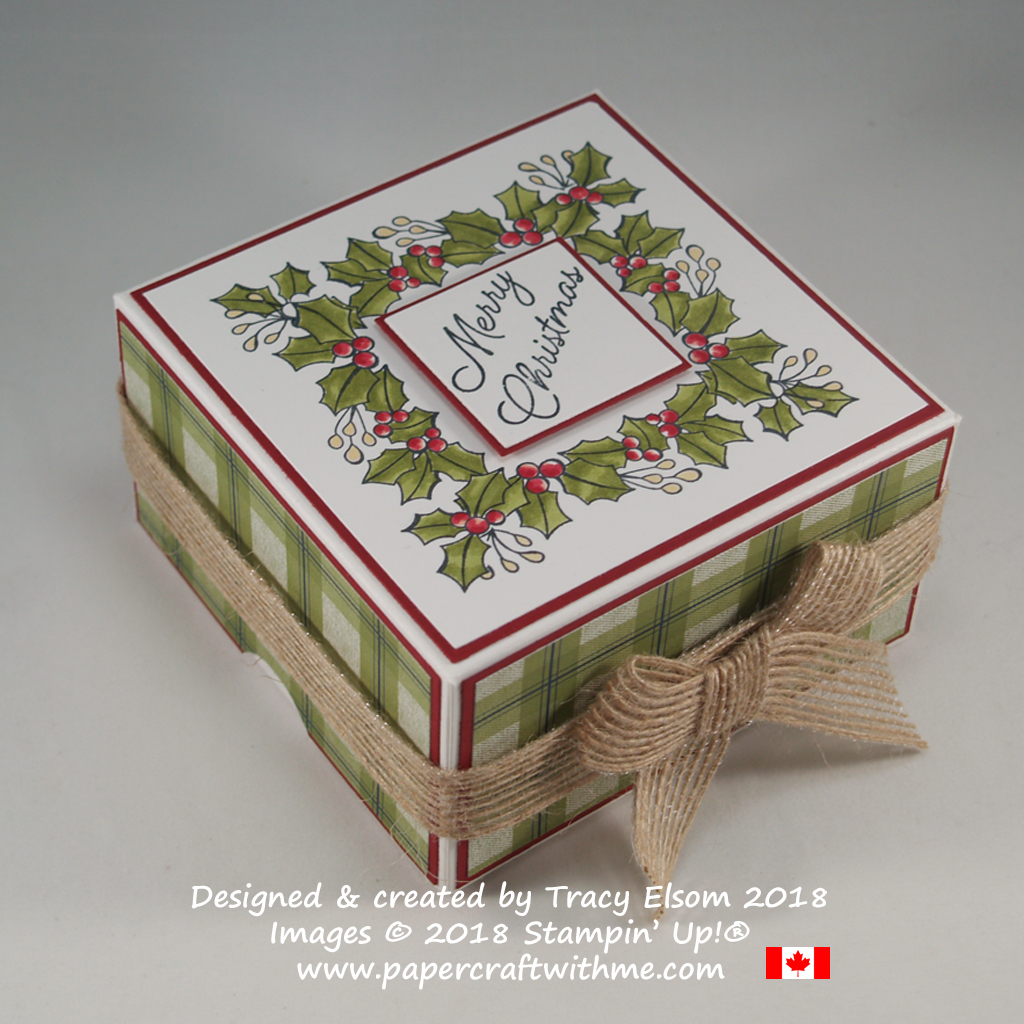 Two part box with square holly wreath top created using the Blended Seasons Stamp Set from Stampin' Up!