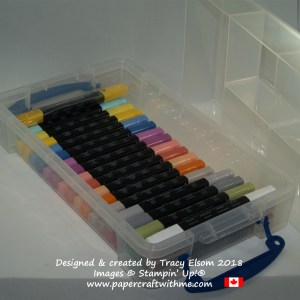 Stampin' Blends alcohol markers from Stampin' Up! in shallow portable storage box.