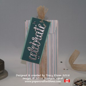 Gift packaging created using the Gift Bag Punch Board and Celebrate You Thinlits Dies from Stampin' Up!
