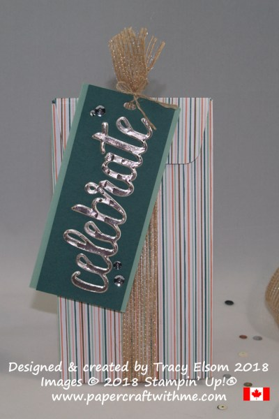 Masculine celebrate gift bag created using the Gift Bag Punch Board and Celebrate You Thinlits Dies from Stampin' Up!