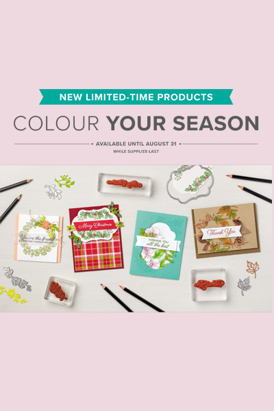 Color Your Season suite - Blended Seasons Stamp Set, Stitched Seasons Framelits Dies and Watercolor Pencils Assortment 2 - only available from Stampin' Up! during August 2018, while stocks last.