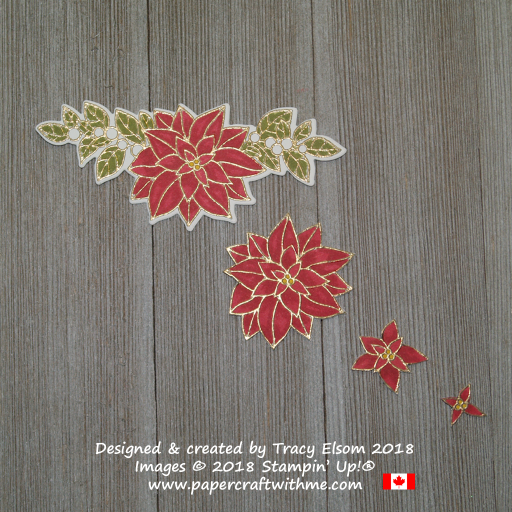 Deconstructing the large image from the Peaceful Poinsettia Stamp Set from Stampin' Up!