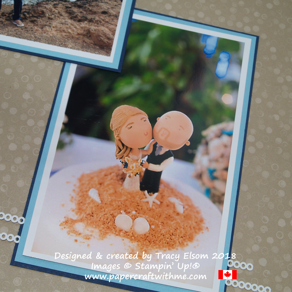 Close up of beach wedding scrapbook page featuring strips from the Delightfully Detailed Laser-Cut Specialty Paper from Stampin' Up!